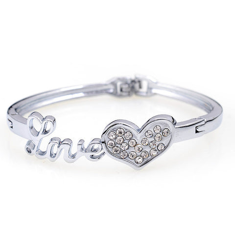 "2015  Fashion Silver Plated ""Love"" Bracelets Luxury Crystal  Heart Bangle & Bracelet For Women Noble Wedding Jewelry - onlinejewelleryshopaus"