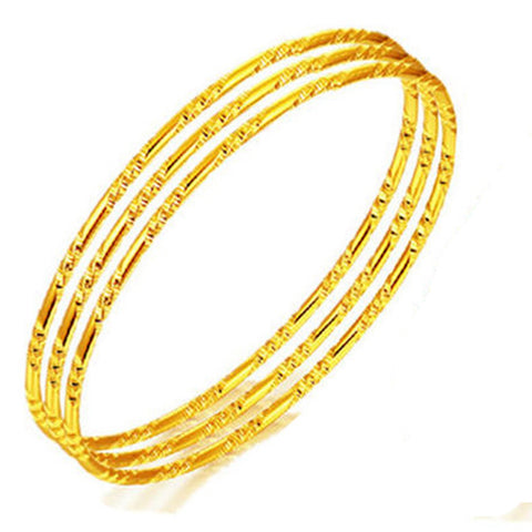 4pcs Thin Bangle Fashion Womens Bracelet  Yellow Gold Filled Unopenable Jewelry 65mm - onlinejewelleryshopaus