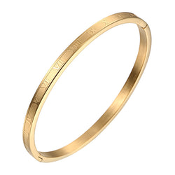 24K Gold Plated Roman Numerals Engraved Women Bangle Thin 316L Titanium Steel Bracelets For Women Female Lady's Jewelry Gift - onlinejewelleryshopaus