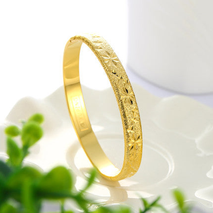 Personality Vintage Wedding Simple Golden Metal Plain Nautical Pin Wire Bangle Thin Gold Plated Bracelet For Birthday Gift - onlinejewelleryshopaus