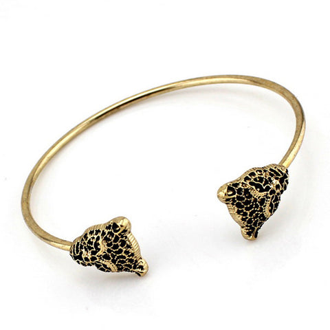 Womens' Vintage Bronze Jewelry 2 Leopard Open Cuff thin Bangle Bracelet RFF  Wonderful Gift  Freeshipping - onlinejewelleryshopaus