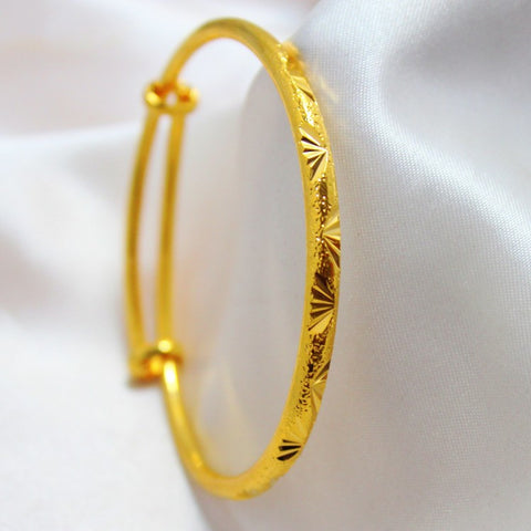 Handwork carved fan pattern thin bangle  yellow gold filled fashion women's adjustable bangle - onlinejewelleryshopaus