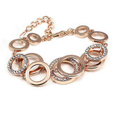 Luxury Rose Gold Silver Plated Circles Bracelet & Bangles Fashion Czech Crystal Paved Round Bracelets For Women Jewelry SL075 - onlinejewelleryshopaus