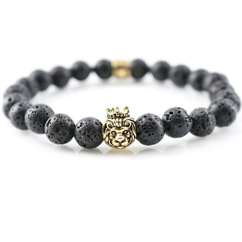 Natural Lava Stones Bracelets Antique Gold Bull Head Charm For Men Strand Beaded Bangles Women Wrap Jewelry Gifts - onlinejewelleryshopaus