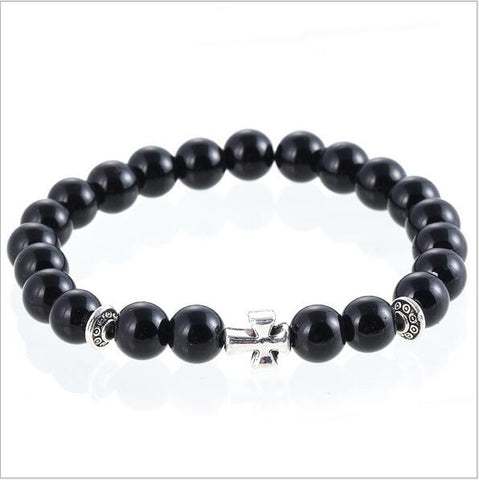 natural black agate stone strand bracelets wholesale for men women female gift frosted buddha bead jewelry bracelet accessories - onlinejewelleryshopaus