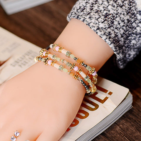 New Fashion Two kinds of USES Inlay zircon crystal multi-layer hybrid material beadsHigh quality Strand Bracelets For Women - onlinejewelleryshopaus