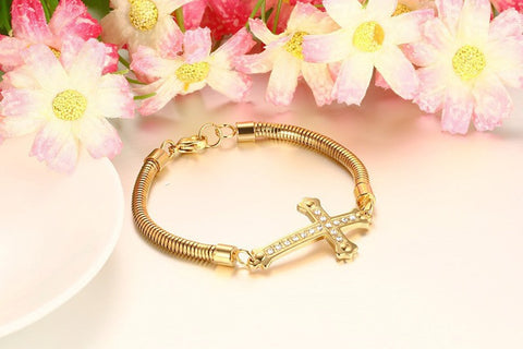 Top quality stainless steel diamonds gold bracelets for women with Charm bangles ladies bracelet - onlinejewelleryshopaus