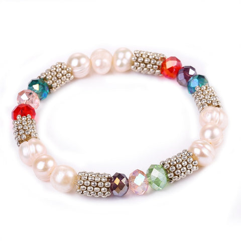 New Jewelry Multi crystal simulated pearl bracelets & bangles Beads strand Bracelets for Women charm bracelet  B-B10179 - onlinejewelleryshopaus