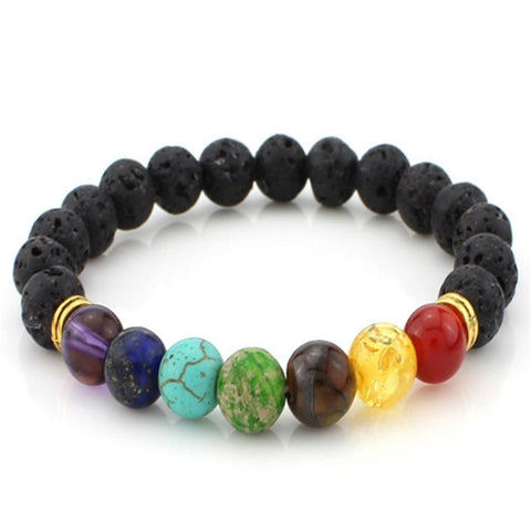 New Natural Agate Lava Stone Strand Bracelet Colorful Beads  Rock bracelets Energy volcanic  Men Women Jewelry - onlinejewelleryshopaus