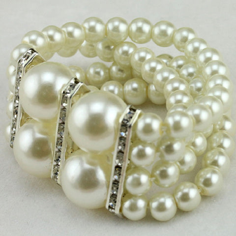 New fashion crystal imitation pearl stretch bracelets charm strand bracelets bangles for women girls gift SL0109 - onlinejewelleryshopaus