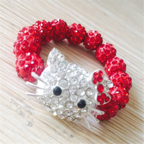1 PCS Hello Kitty  Bracelets for Children Handmade Rope Chain Wrap Charm Bracelets Bangles - onlinejewelleryshopaus