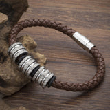 2017 New Fashion High Quality Genuine Leather Bracelet Strand Stainless Steel Beads Vintage Brand Women Charm Bracelet Bangles - onlinejewelleryshopaus