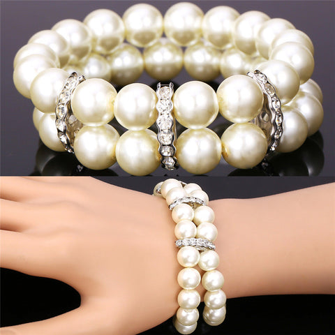 U7 Simulated Pearl Jewelry Strand Bracelets For Women Platinum Plated Rhinestone Two Layers White Bracelet Wholesale H173 - onlinejewelleryshopaus