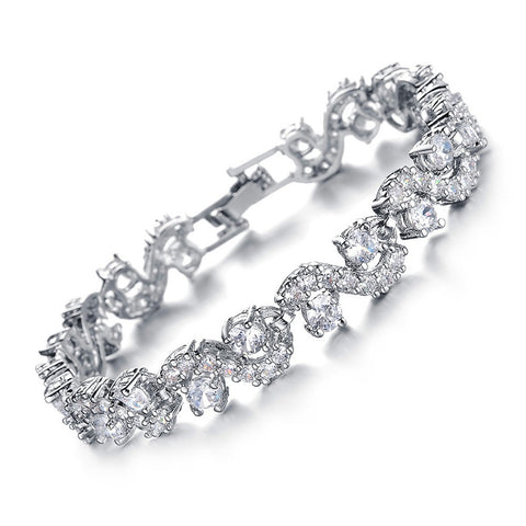 OPK Jewelry White Gold Color Austria Big Synthetic Crystal Bracelets Brand Design Strand Bracelet Elegant Women Jewelry DS931B - onlinejewelleryshopaus