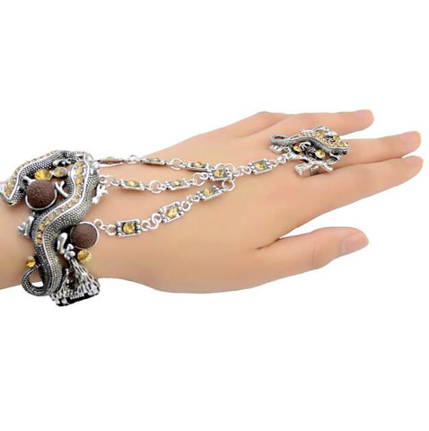 1 Colors Punk Retro Silver Fashion Bracelets & Bangles Charm Rhinestone With Lovely Small Gecko Shape Bracelet For Women Jewelry - onlinejewelleryshopaus