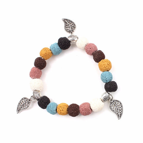 1strand/lot Mix color Volcano Lava & Tibet Silver leaf  Stone Beads Charms Bracelets Fashion Woman Jewelry - onlinejewelleryshopaus
