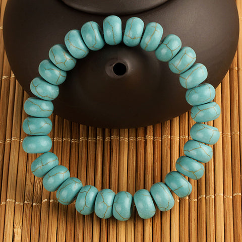 Lowest price High Quality 2015 New Brand Elastic Rope Women Bead Stone Turquoise friendship Bracelet Free shipping 10mm Gift - onlinejewelleryshopaus