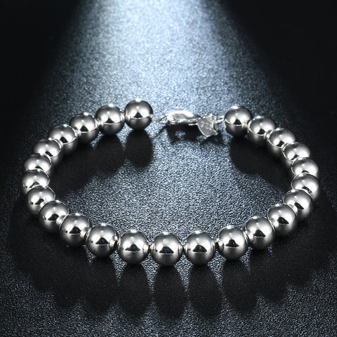 8mm hollow ball beads Bracelet Strand Beads Charm Bracelets wedding Silver Color Bracelets & Bangles fashion jewelry for women - onlinejewelleryshopaus