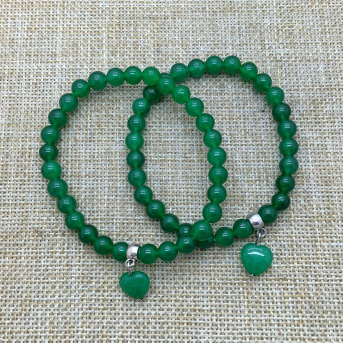 Wholesale Bracelet Natural Green Aventurine Bead Bracelet 6 mm Beads with Heart Charm Bracelet Jewerly Pulesra - onlinejewelleryshopaus