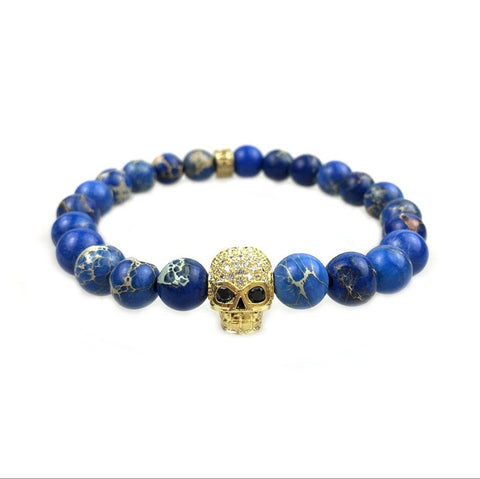 Mens Jewelry Imperial Stone Rose Quartz Black Agate Onyx 18k Real Gold Plated Copper Skull Bracelet - onlinejewelleryshopaus