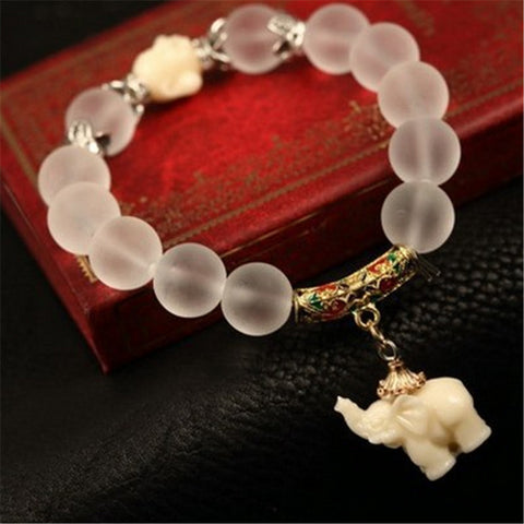 Unisex Women Lady Girl Hot Fashion Charming Wholesale 2016 Elephant Crystal Elastic Bracelet Jewelry - onlinejewelleryshopaus
