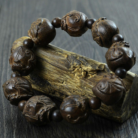 New 2015 Natural Ebony Beaded Bracelets Fashion Embossed Bats Beads Bangles For Women & Men Vintage Wooden Jewelry Hh690758 - onlinejewelleryshopaus