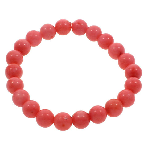 Coral Bracelet,Supplies For Jewelry, Natural Coral, with South Sea Shell, Round, natural, red, 9mm Approx 6.5 Inch Strand - onlinejewelleryshopaus