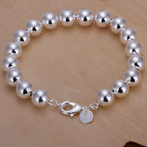 2015 new 925 silver Women design chain 10mm beads bracelet Jewellery - onlinejewelleryshopaus