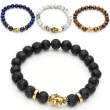 "6""inchs 8mm Men's Tiger Eye Lava Rock Black Bracelet Healing Energy Stone Jade Mala Beads agate Wrist Prayer Multi-colored - onlinejewelleryshopaus"