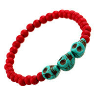 new 2016 fashion designer promotion stretch String Turquoise Beads Skull String bracelets bangles women jewelry strand bracelets - onlinejewelleryshopaus