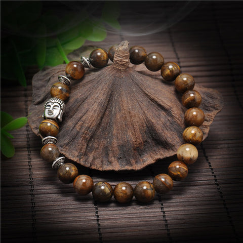 1 piece Natural Stone Bracelets for men Buddha Reiki Prayer Beads Bracelets Head Bracelet Balance Beads - onlinejewelleryshopaus