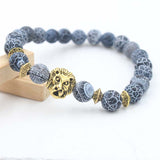 Yanting New Beads bracelet for women natural lava stone charm bracelets men skull lion pendant bracelet fashion jewelry Gift 903 - onlinejewelleryshopaus