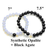 Love Vintage Couples His & Hers Distance White Opalite Black Agate Bracelet  Bead Matching YinYang Anniversary Gifts Women Men - onlinejewelleryshopaus