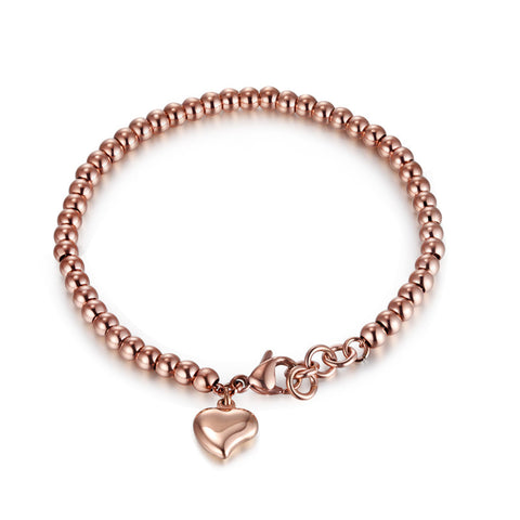 2016 Fashion Rose Gold Filled Stainless Steel Women Strand Bracelets Handmade Beads Heart Charm Party Jewelry Big Promotion Gift - onlinejewelleryshopaus