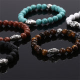 Fashion UNISEX Mens Lava Natural Gem stone Head Buddha Beaded Elastic Bracelet - onlinejewelleryshopaus