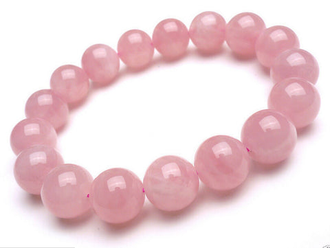 8mm Natural Madagascar Deep Pink Rose Quartz Crystal Round Beads Bracelet AAA - onlinejewelleryshopaus