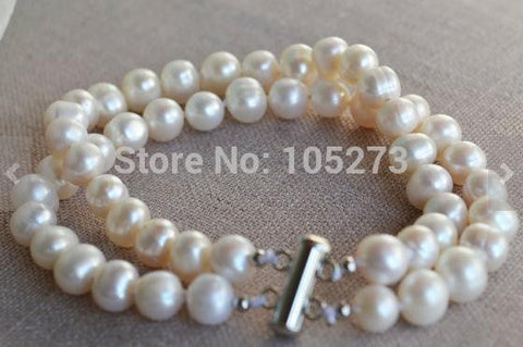 New Arriver Pearl Bracelet 8 Inches 2 Rows 8-9mm White Color Freshwater Pearl Bracelet Wedding Party Jewelry Wholesale - onlinejewelleryshopaus