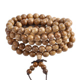 New Tibetan 8mm Natural Chinese Yew Wood Healing Gem Stone 108 Buddhist Prayer Beads Tibetan Mala Stretch Bracelet Necklace - onlinejewelleryshopaus