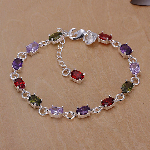925 Silver Bracelet jewelry romantic lucky CZ crystals colorful stones women bracelet 925 silver jewelry CH258 - onlinejewelleryshopaus