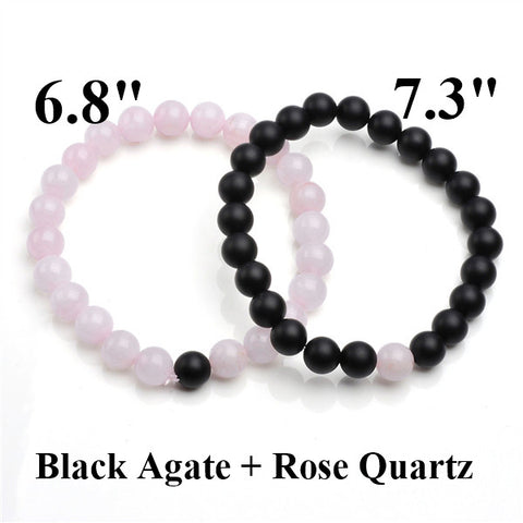 Love Vintage Couples Rose Quartz Matte Black Agate Bracelet Bead Matching Sets Jewelry Anniversary Gifts For Lovers Women Men - onlinejewelleryshopaus