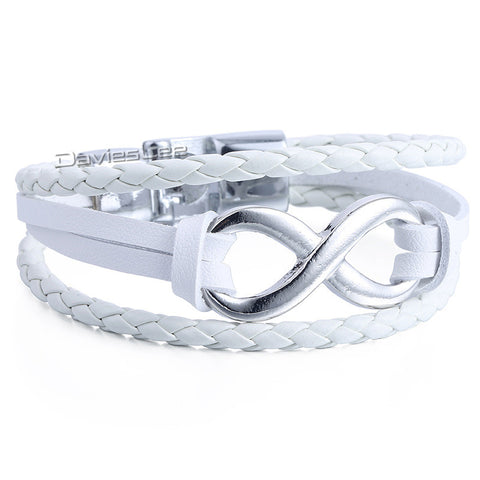 Mens Womens White Black Coffee 3 Strands Rope Braided Man-made Leather Bracelet Wristband Surf w Infinity Love Charm LLB686 - onlinejewelleryshopaus