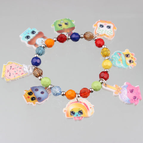 10pcs/lot 2016 Hot Sale Shopkins Bracelets 8MM Colourful Bead Strand Bracelets For Children Gifts Free Shipping - onlinejewelleryshopaus