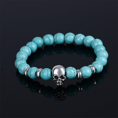 Sale 1 Pc 6 Colors Unisex Natural Stone Buddha Beads Silver Plated Skull Bracelet Beaded Jewwlry Gift - onlinejewelleryshopaus