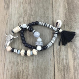 2016 New European Boho Jewelry handcrafted beaded bracelet with Bull skull charm antique silver charm bracelets set for women - onlinejewelleryshopaus