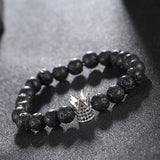 2017 New Brand Trendy Imperial Crown Charm Bracelets Micro Pave CZ Women Natural Lava Beads For Women Men Jewelry Pulseras Mujer - onlinejewelleryshopaus