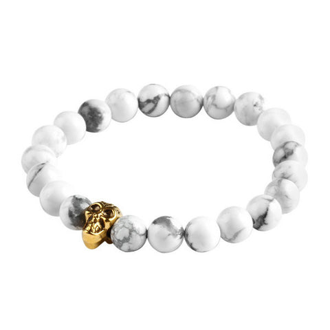 2015 Natural Stone bead Buddha Bracelets For Women and Men,Gold Skull Buddha Lava bracelet,pulseras mujer - onlinejewelleryshopaus