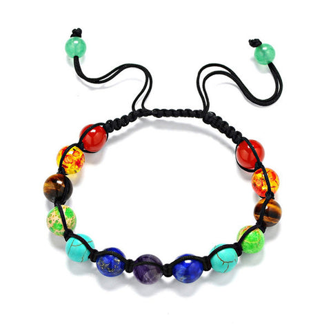 Fashion 8mm 13 Color Mixed Stone Chakra Beads Bracelet Adjustable Handmade Braided Rope For women men - onlinejewelleryshopaus