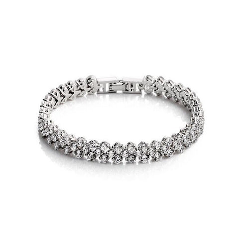 Fashion Women Bracelet Chain Clear Zircon Full Crystal Rhinestone Bracelet Bangle Bead Bracelet For Lady Gift Wedding Jewelry - onlinejewelleryshopaus