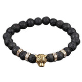 Natural matte Black lava rock stone Beads of  leopard lion head Crystal Stretch Bracelet #JS0838 - onlinejewelleryshopaus