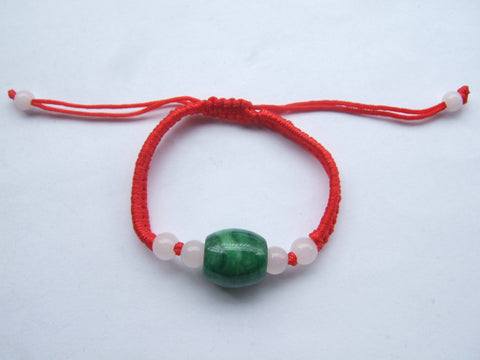 1pc Chinese Red Lucky Silk Twist Cord Cat Eye Natural Jade Stone Bead Braid Friendship Bracelets - onlinejewelleryshopaus